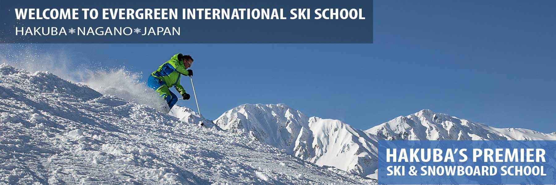 japan ski school header - mountains and blue sky